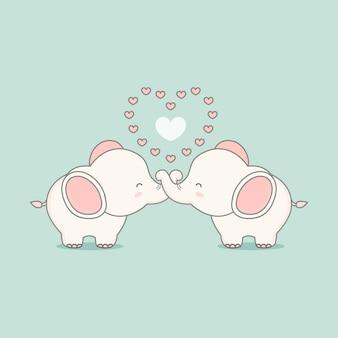 Éléphant rose mignon amoureux des coeurs. carte de saint valentin.