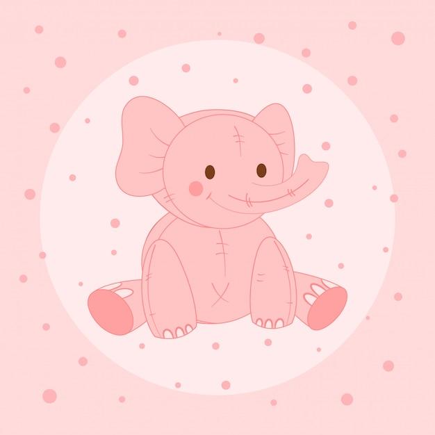 Éléphant rose mignon, carte postale pour les enfants