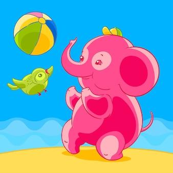 Éléphant rose et oiseau en style cartoon jouant au ballon sur la plage de sable.