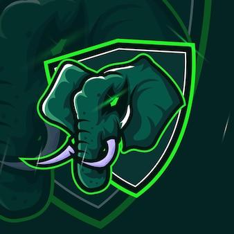 Elephant strong head esport mascot logo pour le jeu esport et le vecteur gratuit premium de sport