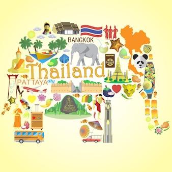 Éléphant thaïlandais. seticons et symboles de la thaïlande
