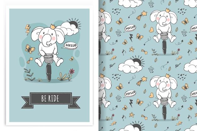 Éléphant à vélo illustration doodle et modèle sans couture