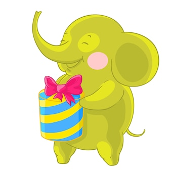 L'éléphant vert mignon rit et se réjouit du cadeau dans ses mains.