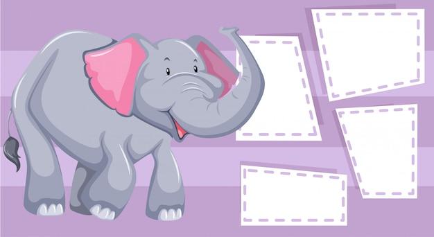 Éléphant violet avec des cadres de notes