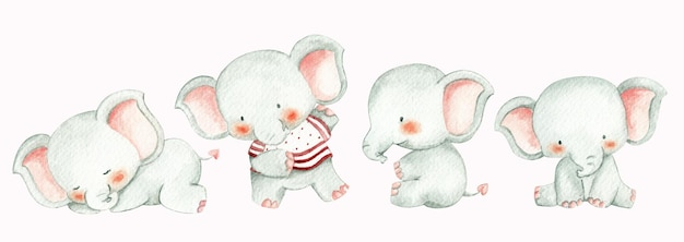 Éléphants de bébé de style aquarelle