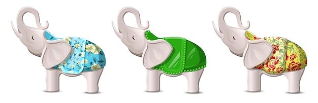Éléphants chanceux avec troncs soulevés sur blanc