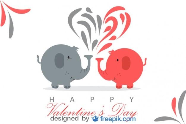 Éléphants dans la carte de vecteur du jour de saint valentin