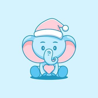Les éléphants mignons célèbrent noël avec plein d'amour