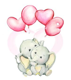 Éléphants mignons, un coeur et des ballons rouges. aquarelle
