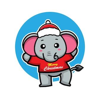Éléphants mignons avec le concept de noël animal de personnage de dessin animé de costume de noël