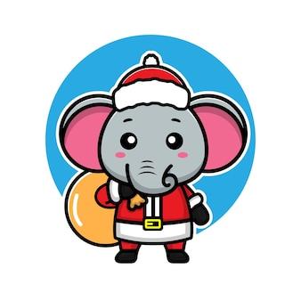 Éléphants mignons avec le concept de noël animal de personnage de dessin animé de costume de santa