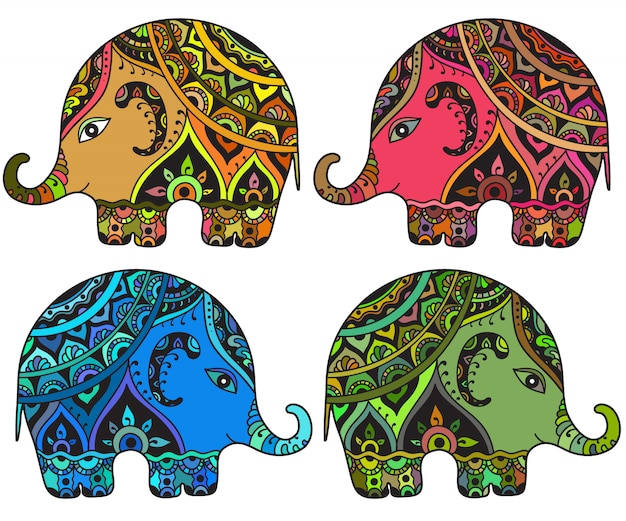 Éléphants à motifs fantaisie stylisés dans un style indien.