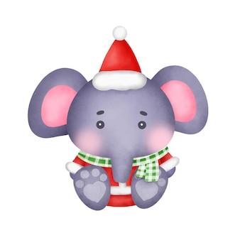 Éléphants de noël à l'aquarelle pour carte de voeux.