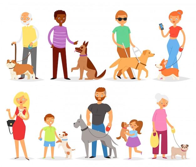 Élevage de chiens avec animal de compagnie et femme ou homme éleveur de chiens avec chien ou chiot illustration ensemble doggish d'enfants fille ou garçon jouant avec chien caractère animal sur fond blanc