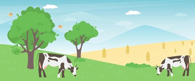 L'élevage de vaches sur le concept d'entreprise agricole de prairie de printemps vert. veaux mangeant des herbes fraîches. illustration vectorielle de champ animal rural. bannière de l'industrie des éleveurs de bétail.