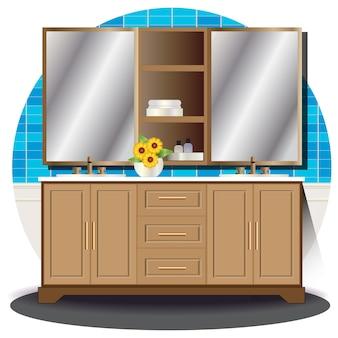 Élévation intérieure de la salle de bain avec fond