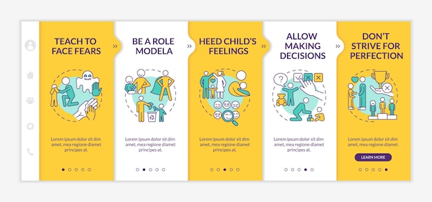 Élever des conseils sur le modèle vectoriel d'intégration jaune. site web mobile réactif avec des icônes. écrans de présentation de page web en 5 étapes. concept de couleur de santé mentale de l'enfant avec des illustrations linéaires