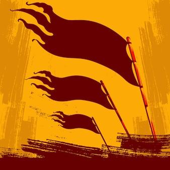 Élever le fond de drapeau de la révolution