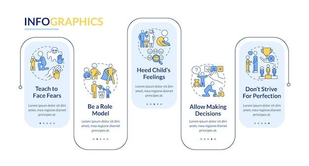 Élever le modèle d'infographie vectorielle de conseils pour bébé. éléments de conception de la présentation de la santé mentale de l'enfant. visualisation des données en 5 étapes. diagramme d'informations sur la chronologie du processus. disposition du flux de travail avec des icônes de ligne