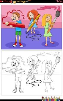 Élèves de bande dessinée avec la page de livre de coloriage de crayons et de pinceau