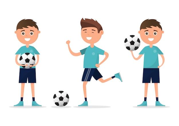 Des élèves de différents personnages jouant au football