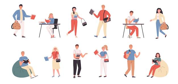 Élèves et enseignants à la bibliothèque et à la maison ensemble plat