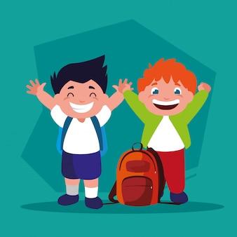 Élèves garçons avec des fournitures scolaires, retour à l'école
