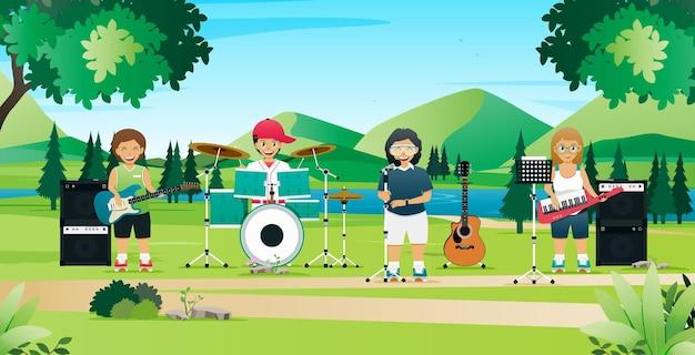 Les élèves jouent de la musique et chantent dans le jardin