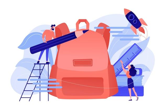 Les élèves mettent un crayon et une règle dans le sac à dos. services de retour à l'école, sacs à dos gratuits et fournitures scolaires, préparation du nouveau concept de l'année scolaire