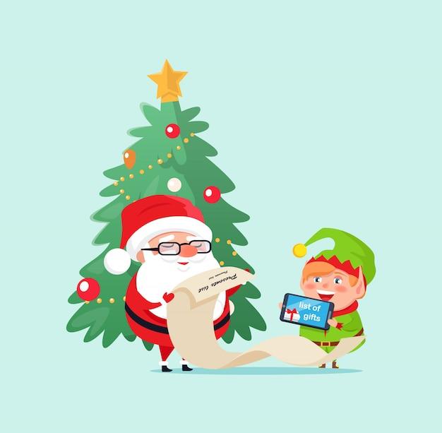 Elf helper et père noël vérifiant l'illustration
