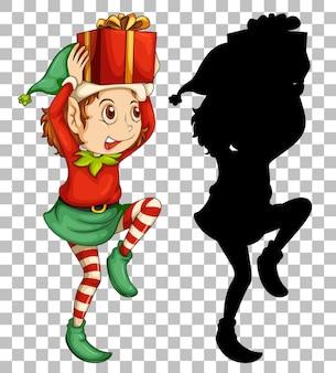 Elf tenant une boîte cadeau