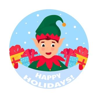 L'elfe drôle tient une pancarte indiquant de joyeuses fêtes