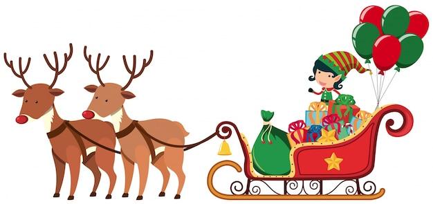 Elfe, équitation, sur, traîneau, à, deux, rennes
