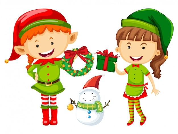 Elfe et femme avec des cadeaux de noël