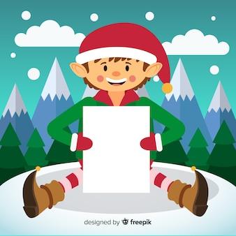 Elfe de fond de noël tenant une pancarte
