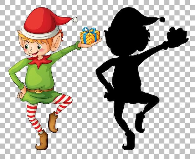 Elfe de garçon mignon et sa silhouette
