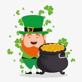 Elfe de jour de st patrick avec chapeau avec chaudron et pièces de monnaie