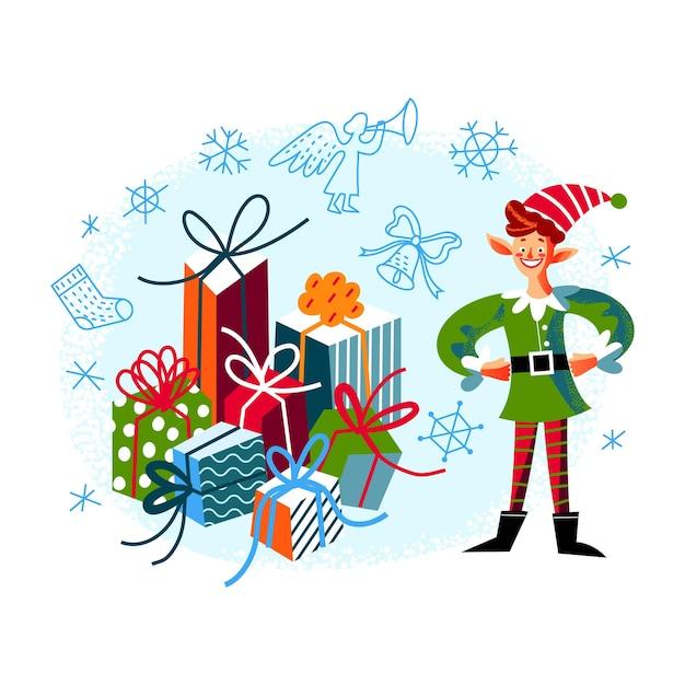 Elfe de noël avec des cadeaux personnage de noël mignon préparant des cadeaux de nouvel an avec des rubans en pile