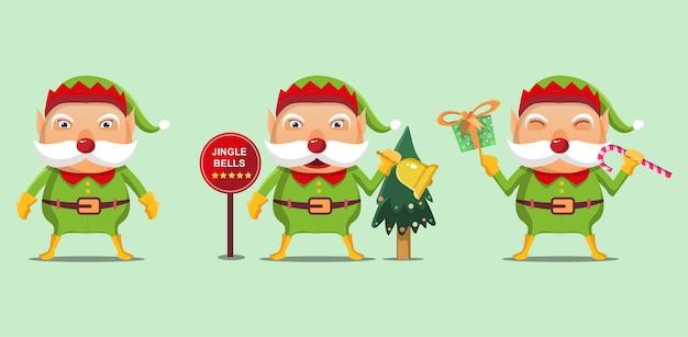 Elfe de noël dessin animé tenant des cloches et des coffrets cadeaux