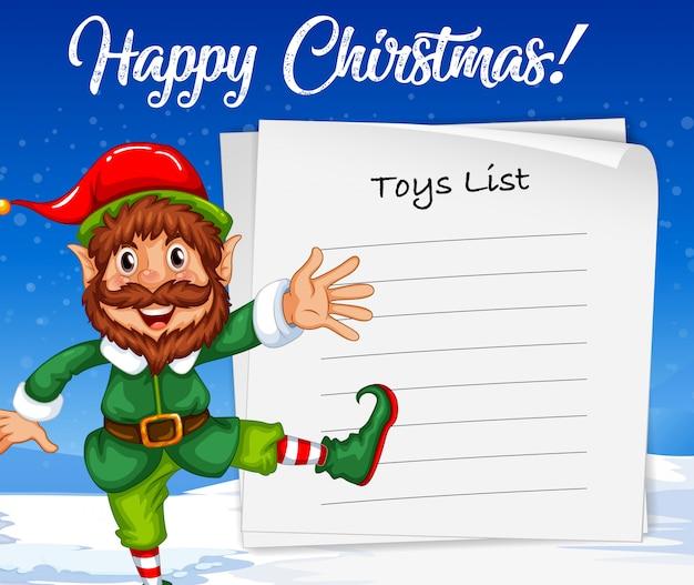 Elfe de noël et liste de jouets
