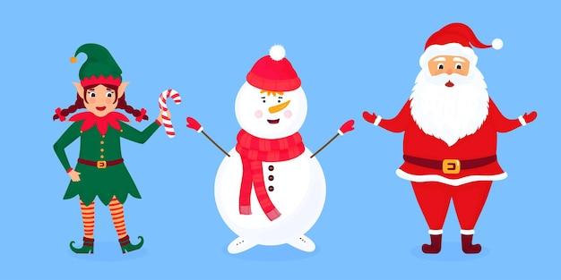 Elfe de noël, père noël et illustration vectorielle de bonhomme de neige.