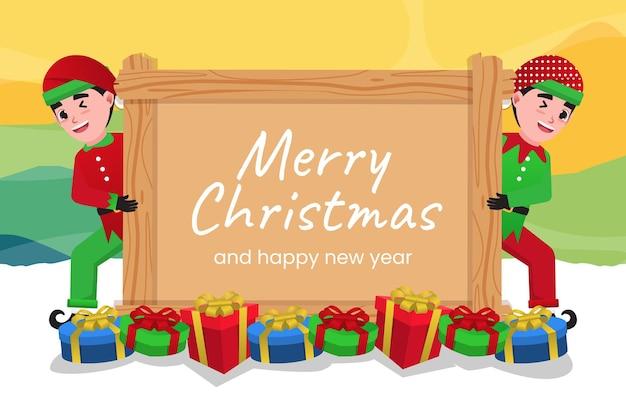 Un elfe souriant portant un chapeau rouge tient une bannière avec un joyeux noël et un texte de bonne année