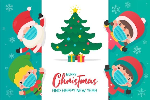 Les Elfes Du Père Noël Et Les Enfants Portent Des Masques Pour Prévenir Le Coronavirus Pendant L'hiver De Noël. Vecteur Premium