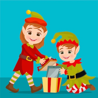 Elfes emballant un cadeau