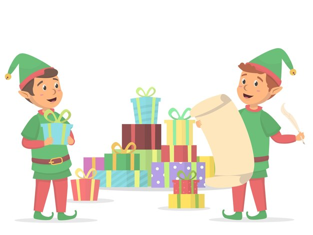Elfes mignons avec boîte-cadeau de noël