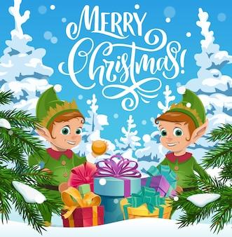 Elfes de noël avec des cadeaux de noël, vacances d'hiver.