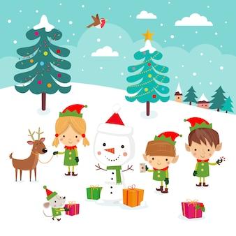 Elfes De Noël Vecteur Premium
