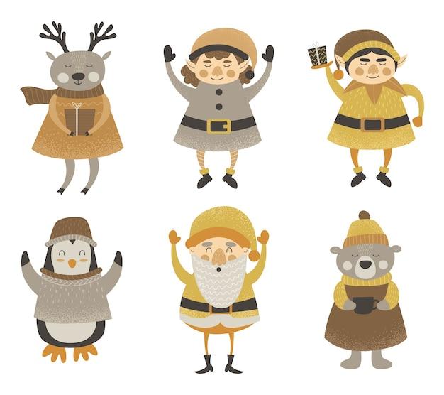 Elfes de personnages de noël, père noël, cerf, ours, pingouin, bonhomme de neige