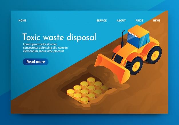 Élimination des déchets toxiques vector banner underground.
