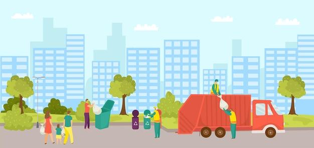 Élimination des ordures dans la ville illustration vectorielle homme femme personnage transporte des ordures au conteneur w...